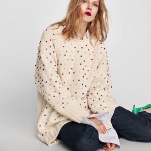 NEW Zara oversized beaded sweater with tags